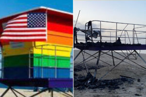 LGBTQ Pride lifeguard stand burned down in alleged'act of hate'