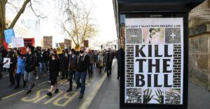 Demonstrators are protesting a massive new policing bill in Britain