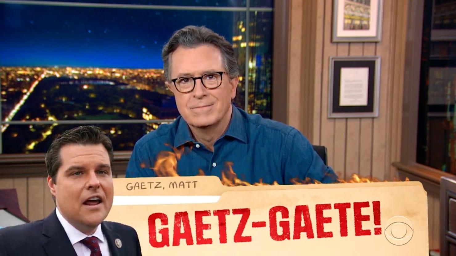 Stephen Colbert Absolutely Destroys Matt Gaetz's Trump Pardon Fail