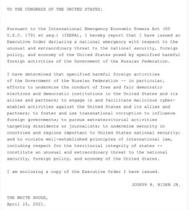 Biden declares a national security emergency over Russia-#42 by donnypietramali-Politics