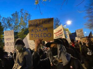 Demonstrators in Chicago gathered and chanted for justice Friday in the shooting of Adam Toledo, fatally shot by a city police officer