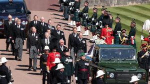 Prince Harry and Prince William Join Royal Family Procession Behind Prince Philip's Coffin