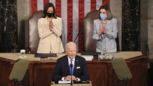 Biden Delivers Address Flanked By Pelosi And Harris, In Historic First: NPR