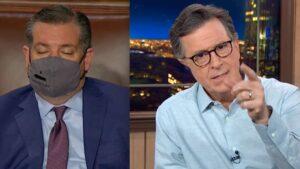 Stephen Colbert Hammers Ted Cruz's Lame Excuse for Sleeping During Biden's Speech to Congress